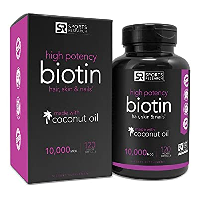 High Potency Biotin 10,000mcg Per Veggie Softgel; Enhanced with Coconut Oil for better absorption; Supports Hair Growth, Glowing Skin and Strong Nails; 120 Mini-Veggie Softgels; Made In USA
