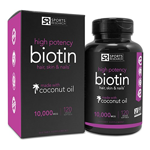 Biotin 10,000mcg with Coconut Oil | Non-GMO & Gluten Free – 120 Mini Veggie Softgels 51pAmp5r dL