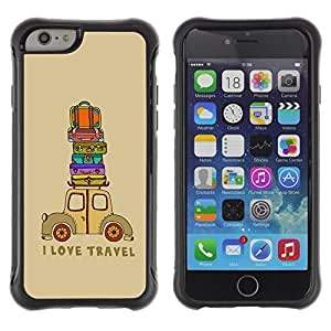 Paccase / Suave TPU GEL Caso Carcasa de Protección Funda para - Quote Travel Suitcase Brown - Apple Iphone 6
