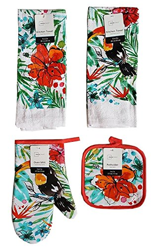 Mainstay Home Mainstays Summer Tropical Kitchen Towels, Oven Mitt, and Potholder 4 Piece Bundle Set (Tropical Bird)