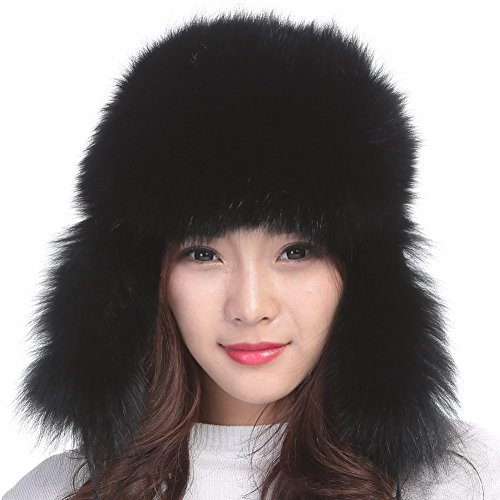 Womens Winter Hat Genuine Fox Fur Russian Trapper Ushanka Hats with Pom Poms (Black) - Russian Hat Ushanka Women