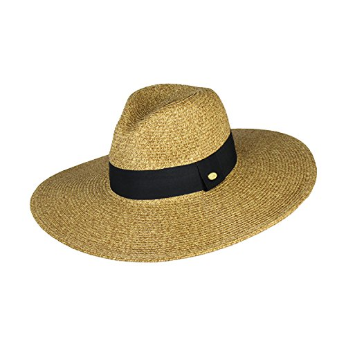 (UPF 50+ Summer Large Brim Straw Panama Sun Hat for Women- Adjustable Boho Fedora with Band (Toast))