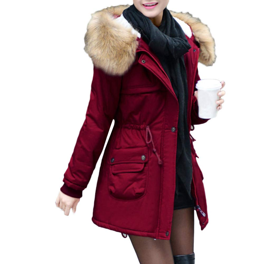 PENATE Women's Slim Down Jacket Girls Winter Warm Plush Hooded Cotton Coat Parka