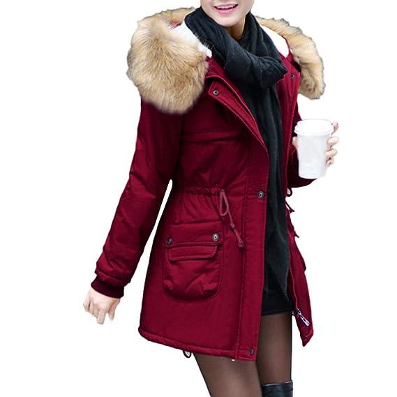 93d2931cb5 Doudoune Femme Hiver,Beikoard Veste Chaude Manteau à Capuche en Coton Parka  Femme Capuche Fourrure
