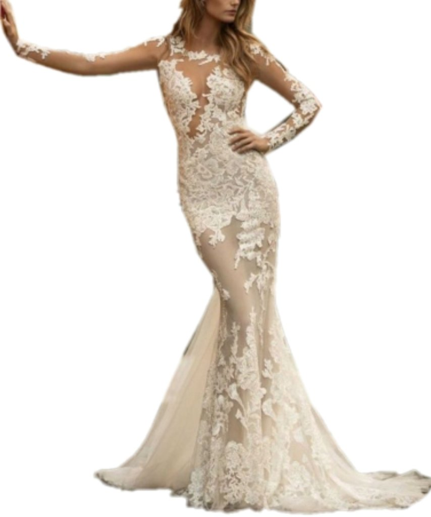 APXPF Women's Mermaid Sheer Lace Tulle Sexy Wedding Dress for Bride White US8