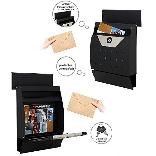 Melko Design Briefkasten halbrund mit Zeitungsfach aus verzinktem Stahl Wei/ß 45 x 35 x 10,5 cm