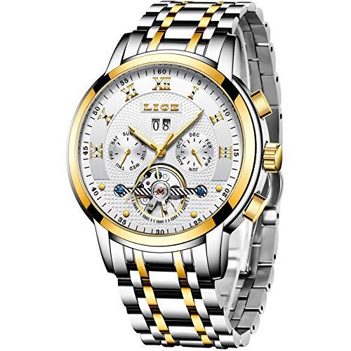 LIGE Watches Mens Luxury Automatic Mechanical Watch Men Waterproof Full Steel Business Dress Wrist Watch