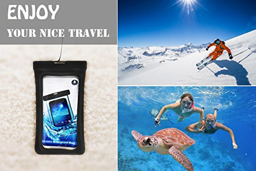 Floating Waterproof Phone Pouch,[Universal] [2 Pack] [Black & Black] - Perfect for Boating/Kayaking/Rafting/Swimming/Snorkeling, Dry Bag Protects your cell phone and valuables - IPX8 Certified by PEADOO (Image #3)