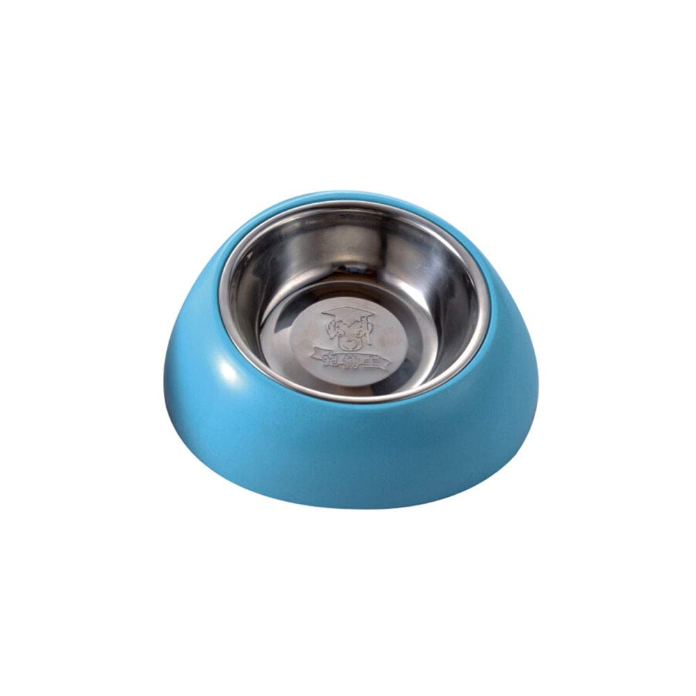 bluee 9.67.22.4inch bluee 9.67.22.4inch XIAN Dog Bowl,Stainless Steel Dog Bowl Non-Slip Single Bowl, Dog and Dog Feeding Water, Pink Trumpet Easy to Clean Non-Skid Bowls for Dogs (color   bluee, Size   9.6  7.2  2.4inch)