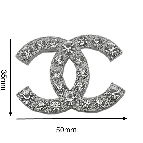 New Fashion womens C.C. diamond rhinestone Brooch Brooches pin Gift Silver from Unknown