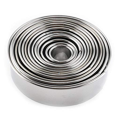 Bazahy Cake Mold 14Pcs/Set Round Shape Cutting Molds Stainless Steel Mousse Cake Ring Cutter (Silver)