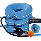 Cervical Neck Traction Device by NeckFix for Instant Neck Pain Relief ✮ Adjustable Neck Stretcher Collar for Home Traction Spine Alignment + Trigger Point Massage Ball (11-19 inch)