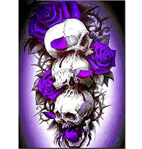 YUMEART DIY Diamond Painting Cross Stitch Square Diamond Embroidery Horror Skull 5D Diamond Mosaic Sewing Art Crafts Halloween Decoration