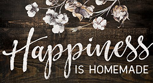 Happiness Homemade Floral Dark Distressed 5.5 x 10 Solid Wood Plank Wall Plaque Sign (Homemade Decor)
