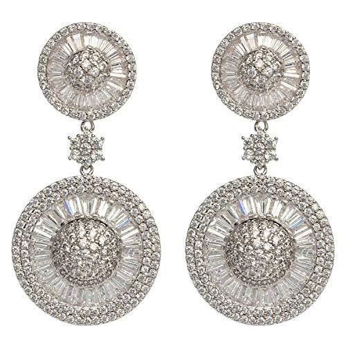MISASHA Rhinestone Round Shape Celebrity Designer Wedding Christmas Gift Party Earrings For Women