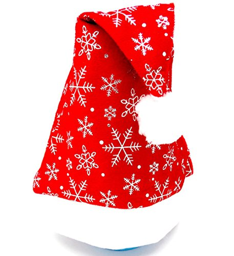 (Shineland Gold and Silver Snow Santa Claus Hand Stitched Naughty Festive Holiday Hat For Women Girl (Silver and Red))