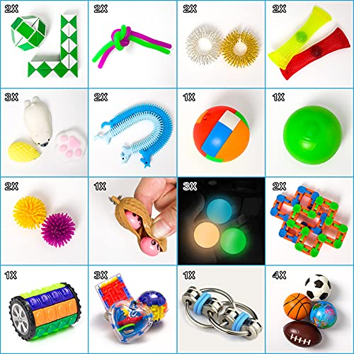 Fidget Toys, 32 Pcs Sensory Toys Set, Fidget Pack with Stress Ball Marble Mesh and More, Relieves Stress and Anxiety Fidget Toy for Children/ Adults/ ADHD/ Autism, Gifts for Birthday/ Classroom Reward