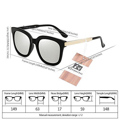 lunettes KINDOYO de lunettes Lunettes de hommes Noir de lunettes protection non femmes miroir soleil polarisées Lentille unisexes soleil de Cadre mode soleil UV400 lunettes soleil Argent et ovales wIqRrwH