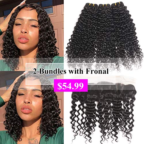 10A Brazilian Human Hair Water Wave Bundles with Frontal (10 12+10) Remy Wet and Wavy Hair Weave 2 Bundles With 13x4 Lace Frontal Closure Unprocessed Virgin Brazilian Water Wave Hair Extensions