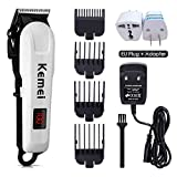 Professional Hair Clippers, Rechargeable Hair Trimmer, Hair Cutting kit with Charge Station for Adult and Kids (White-809A)