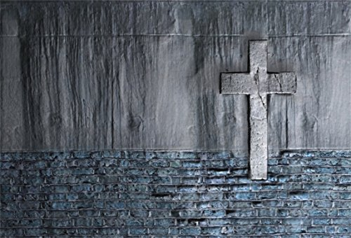 AOFOTO 8x6ft Old Wall with Cross Backdrop Christ Crucifix Pray Faith Photography Background Christianity Baptism Religion Vintage Photo Shoot Studio Props Video Drop Vinyl Wallpaper Drape