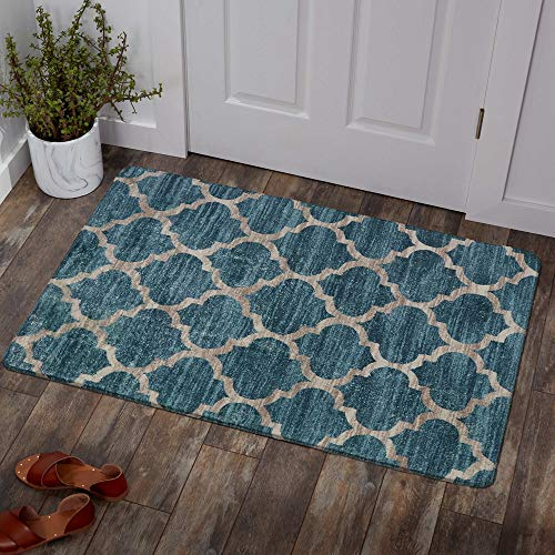 Lahome Moroccan Area Rug - 2' X 3' Faux Wool Non-Slip Area Rug Small Accent Distressed Throw Rugs Floor Carpet for Door Mat Entryway Bedrooms Laundry Room Decor (2' X 3', Blue)