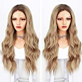 Persephone Ombre Blonde Lace Front Wig Wavy Soft Brown Roots Ash Blonde Ombre Wigs for Women Glueless Long Wavy Synthetic Wig with Middle Parting Heat Resistant 22 Inches