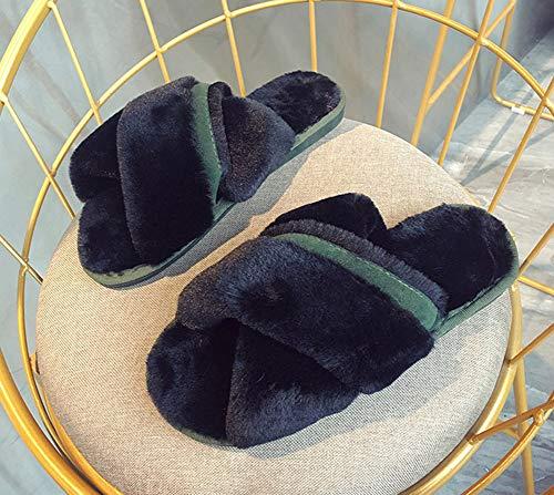 Pantoufle Slippers Hommes Snone Coton Slip Chaud Chaussures Hiver Femmes Fourrure élégant Tongs en Automne lit Accueil Peluche Anti en Intérieur Noir extérieur Sandales wrzRqOrX