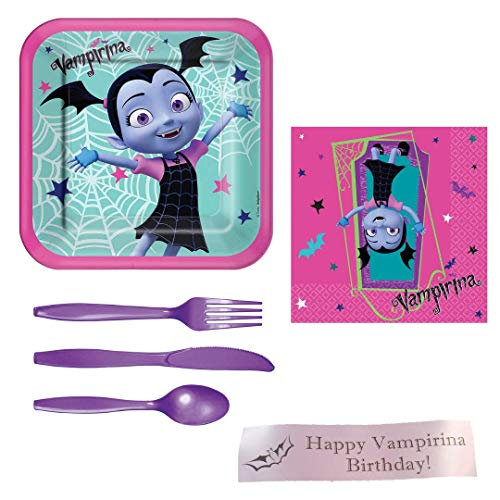 Vampirina Party Supplies Including Lunch Plates, Lunch Napkins, Cutlery and Bonus Printed Ribbon