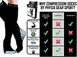 Physix Gear Compression Socks for Men & Women 20-30 mmhg, Best Graduated Athletic Fit for Running Nurses Shin Splints Flight Travel & Maternity Pregnancy -Boost Stamina Circulation & Recovery GRY LXL