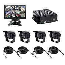TrackSec T17-C028 4 Channel AHD 720P H.264 HDD Vehicle Surveillance Camera System, black