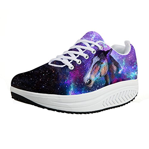 CHAQLIN Fitness Walking Cc3209a Galaxy Sneaker Women's Strength Swing Animal Colorful Wedges Space S61Srn