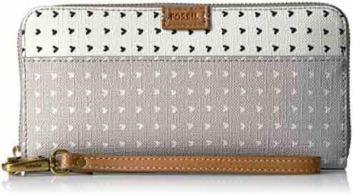 Fossil Emma Rfid Large Zip Wallet-Grey/White