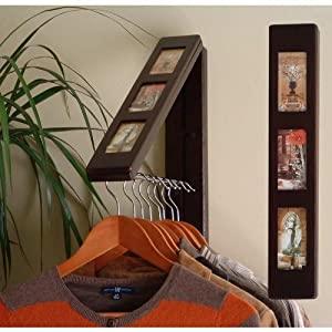 """The Original InstaHANGER Model AH12PF/M ESP Espresso """"Picture Perfect"""" – Folding Collapsible Wall Mounted Clothes Storage/Drying Rack"""