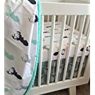3 Piece Crib Bedding Set Mint, Navy, and Gray - Gray Arrow with Mint, Navy, Gray Deer
