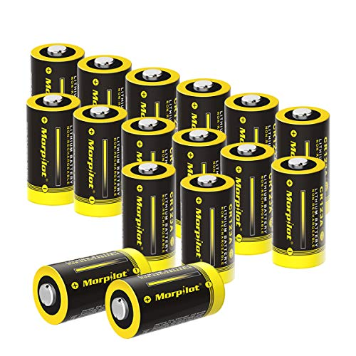 Morpilot 3V CR123A Lithium Battery, High Capacity 16 Pack 1500mAh Non-Rechargeable CR123A Batteries PTC Protected for Arlo Cameras, Flashlight, Camera, Toys, Alarm System