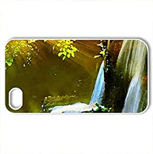 beautiful nature collage - Case Cover for iPhone 4 and 4s (Waterfalls Series, Watercolor style, White)