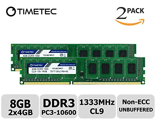 Timetec ®  8GB Kit  Single Rank 1333MHz DDR3  Non-ECC Unbuf