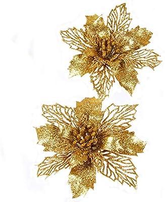 Christmas Flower Decorations.Fnbgl Glitter Gold Poinsettia Flowers Christmas Ornaments 10 Packs Christmas Tree Decorations Gold