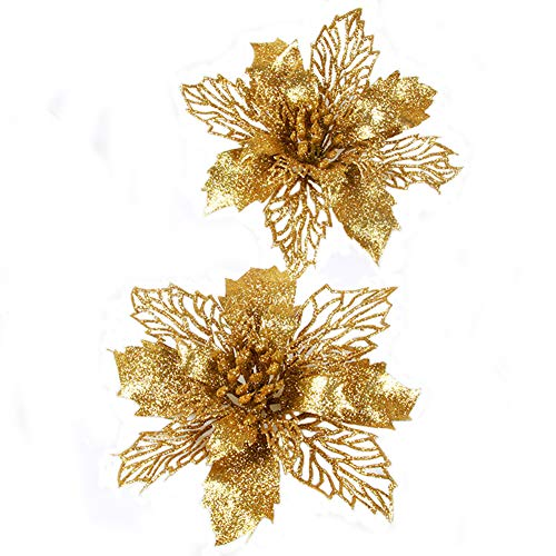 Fnbgl Glitter Gold Poinsettia Flowers Christmas Ornaments 10 Packs Christmas Tree Decorations (Gold)