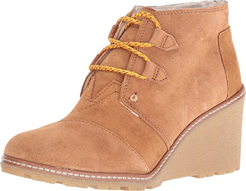 TOMS Women's Desert Wedge Wheat Suede/Shearling/Faux Crepe Wedge Boot (5.5, Wheat Suede/Shearling/Faux Crepe Wedge)