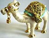 Standing White Camel Bejeweled Trinket Box
