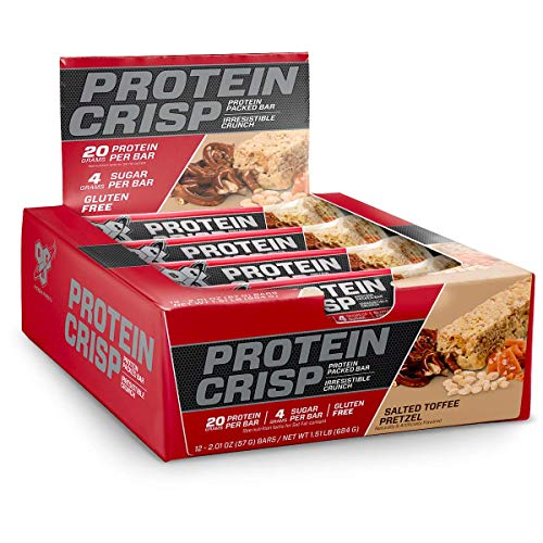 BSN Protein Crisp Bar by Syntha-6, Low Sugar Whey Protein Bar, 20g of Protein, Salted Toffee Pretzel, 12 Count (Packaging may vary) (Best Diet For P90x)