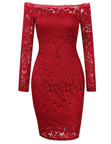 HiQueen Women's Cocktail Party Bodycon Evening Party Red Casual club spring long sleeve off the shoulder Sexy Lace dresses