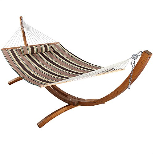 Sunnydaze Quilted Double Fabric 2-Person Hammock with 12-Foot Curved Arc Wood Stand, Sandy Beach, 400 Pound Capacity