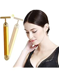 Beauty Bar 24k Golden Pulse Facial Massager with Battery, Anti-Aging Face Massage Tool for Sensitive Skin Face Pull Tight Firming Vibrating System