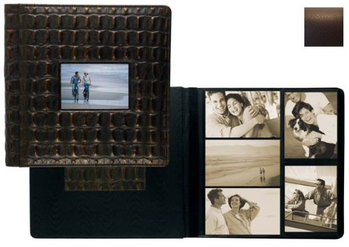 RODEO MOCHA pebble grain leather #113 window album with 5-at-a-time pages by Raika - 4x6