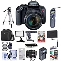 Canon EOS Rebel T7i DSLR with EF-S 18-135mm f/3.5-5.6 IS STM Lens - Bundle with Camera Case, 64GB SDxC Card, Spare Battery, Tripod, Remote Shutter Trigger, Video Light, ShotGun Mic, Software and More