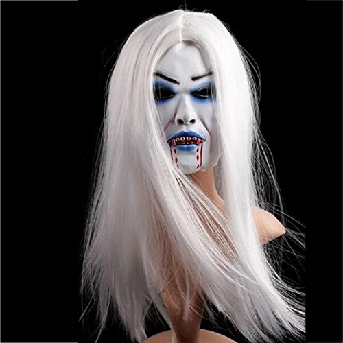 Elibeauty Latex Bleeding White Hair Mask Terror Witch Mask Bar Party Supplies for Halloween Day