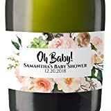 """""""Baby Shower"""" Mini Champagne Wine Bottle Custom Label Sticker for Baby Shower Party - Gifts for Guests, Thank You Gift, Event Invitation - Unique Specialized Personalized Bespoke Set of 8"""